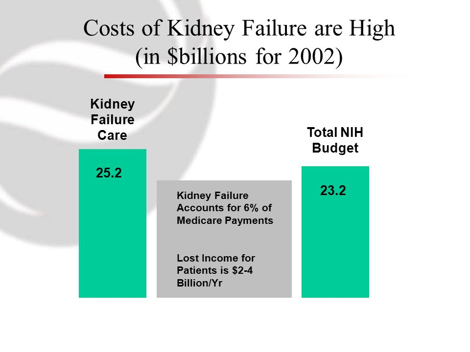 Costs of Kidney Failure are High (in $billions for 2002) Kidney Failure Care Total NIH Budget 25.2 23.2 Kidney Failure Accounts for 6% of Medicare Payments Lost Income for Patients is $2-4 Billion/Yr