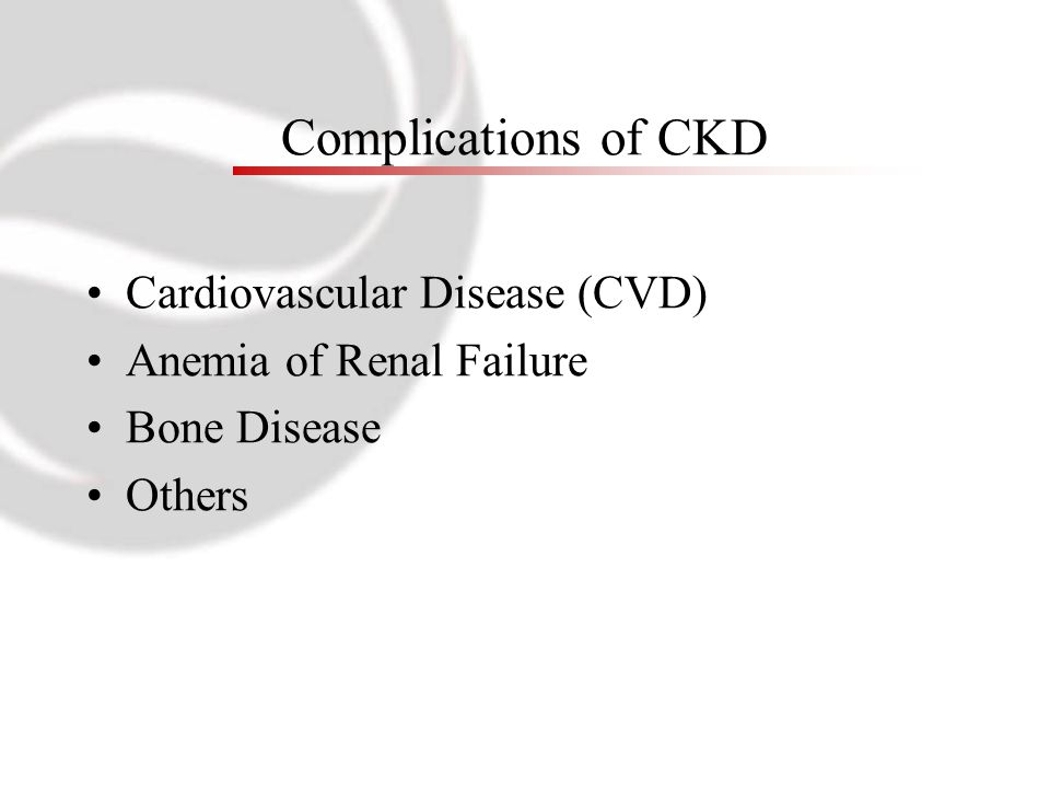 Complications of CKD Cardiovascular Disease (CVD) Anemia of Renal Failure Bone Disease Others