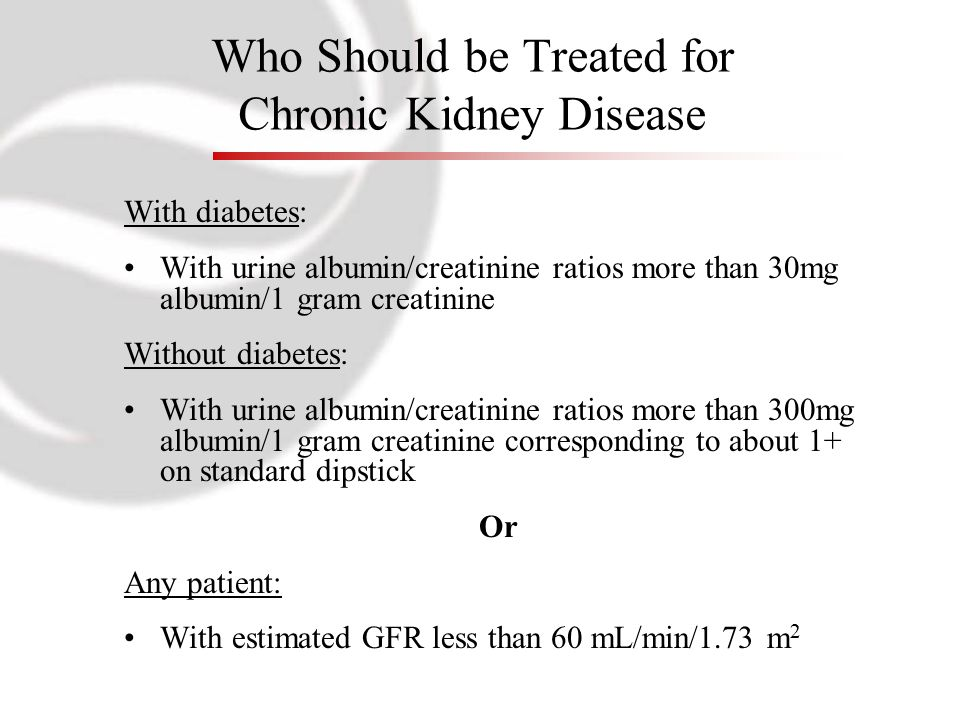 Who Should be Treated for Chronic Kidney Disease With diabetes: With urine albumin/creatinine ratios more than 30mg albumin/1 gram creatinine Without diabetes: With urine albumin/creatinine ratios more than 300mg albumin/1 gram creatinine corresponding to about 1+ on standard dipstick Or Any patient: With estimated GFR less than 60 mL/min/1.73 m 2