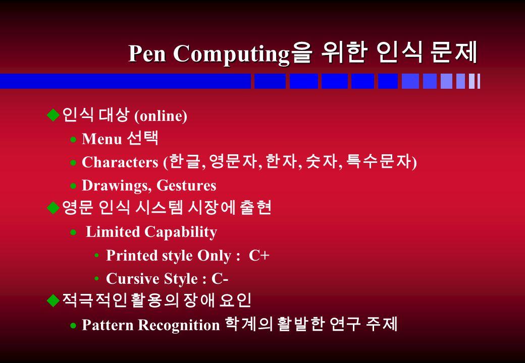Pen Computing 을 위한 인식 문제 u 인식 대상 (online)  Menu 선택  Characters ( 한글, 영문자, 한자, 숫자, 특수문자 )  Drawings, Gestures u 영문 인식 시스템 시장에 출현  Limited Capability Printed style Only : C+ Cursive Style : C- u 적극적인 활용의 장애 요인  Pattern Recognition 학계의 활발한 연구 주제