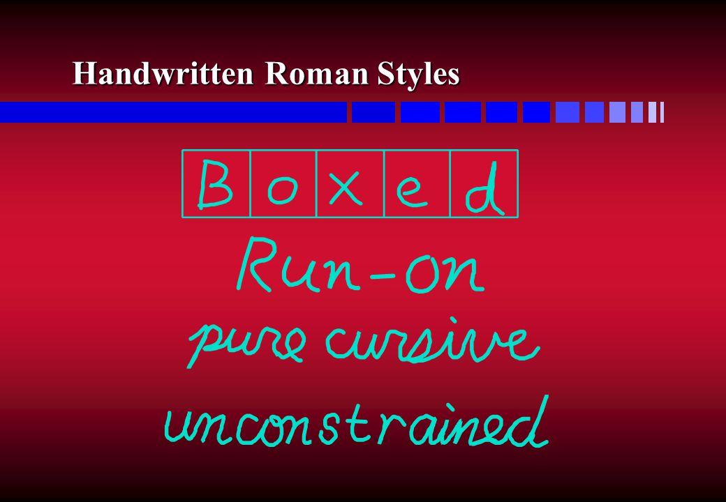 Handwritten Roman Styles