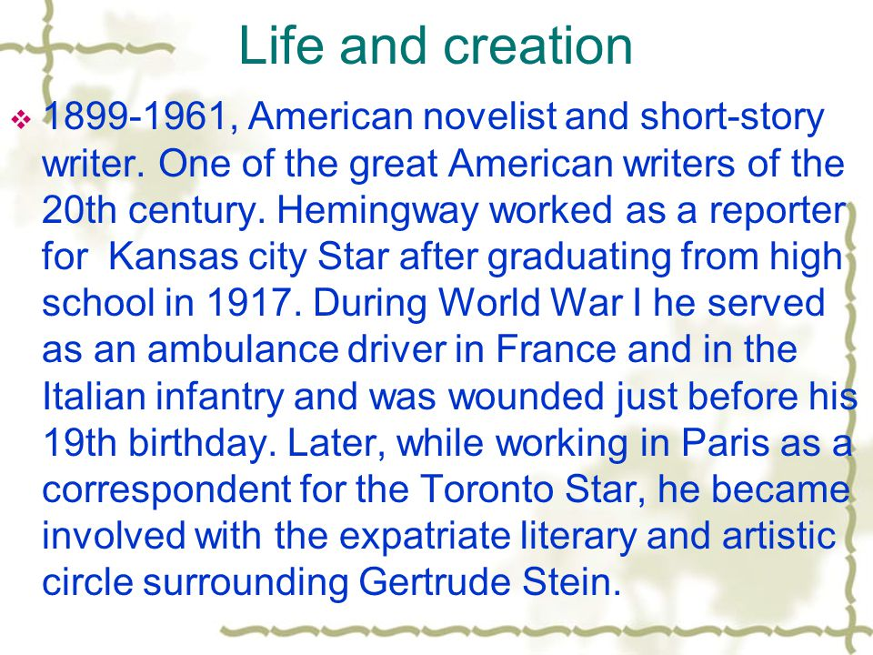 Life and creation  1899-1961, American novelist and short-story writer.