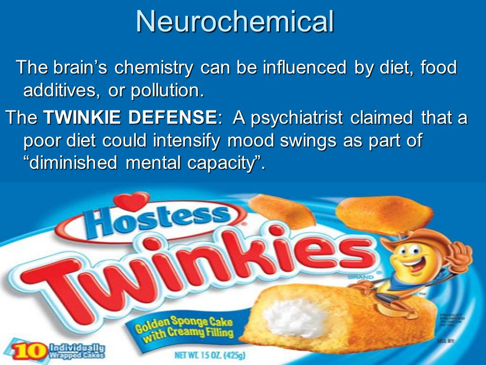 Neurochemical The brain's chemistry can be influenced by diet, food additives, or pollution. The brain's chemistry can be influenced by diet, food add