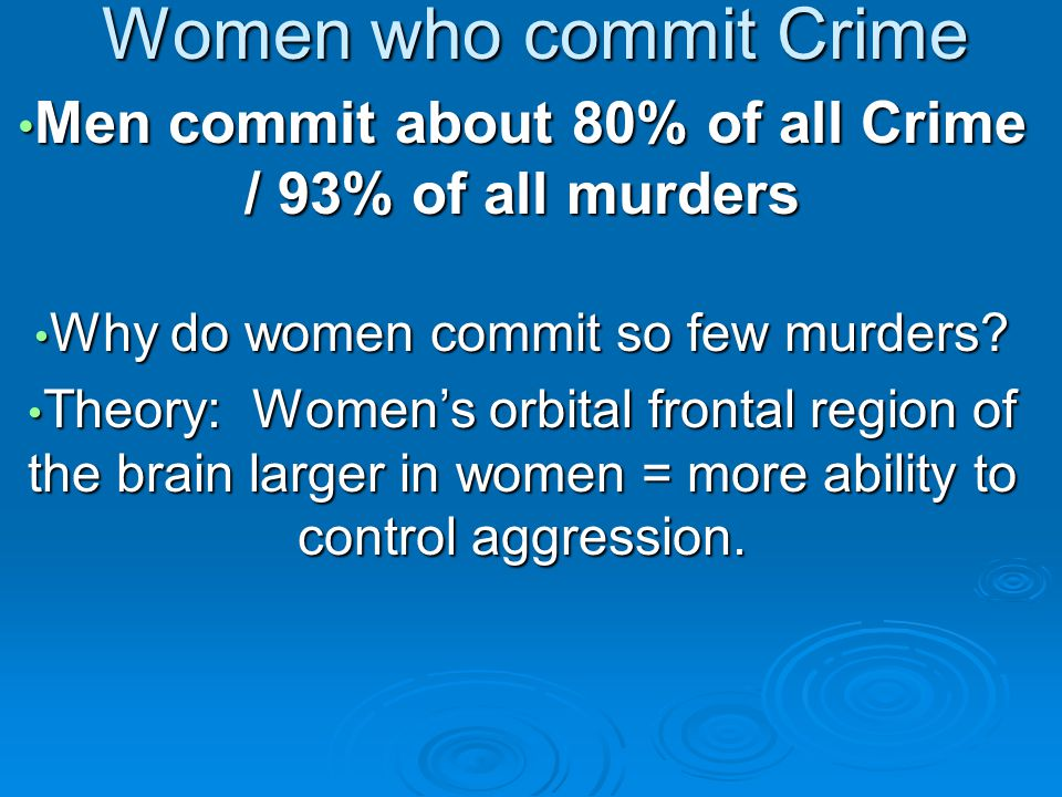 Women who commit Crime Men commit about 80% of all Crime / 93% of all murders Men commit about 80% of all Crime / 93% of all murders Why do women comm