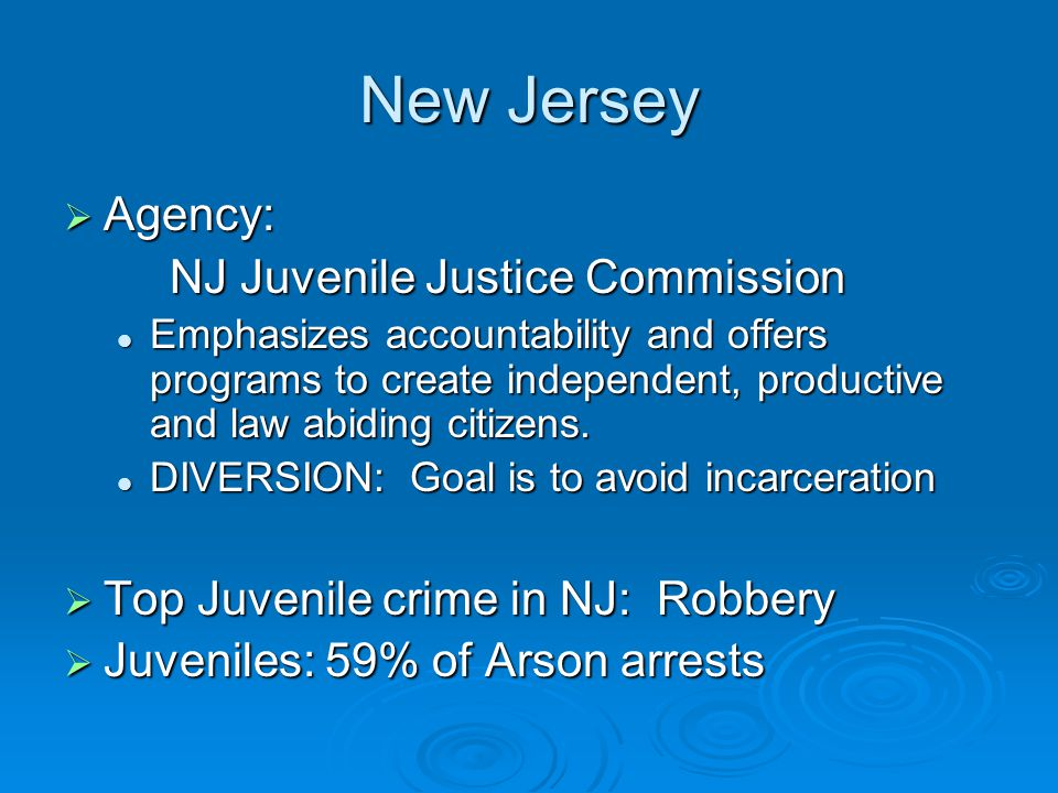 New Jersey  Agency: NJ Juvenile Justice Commission Emphasizes accountability and offers programs to create independent, productive and law abiding ci