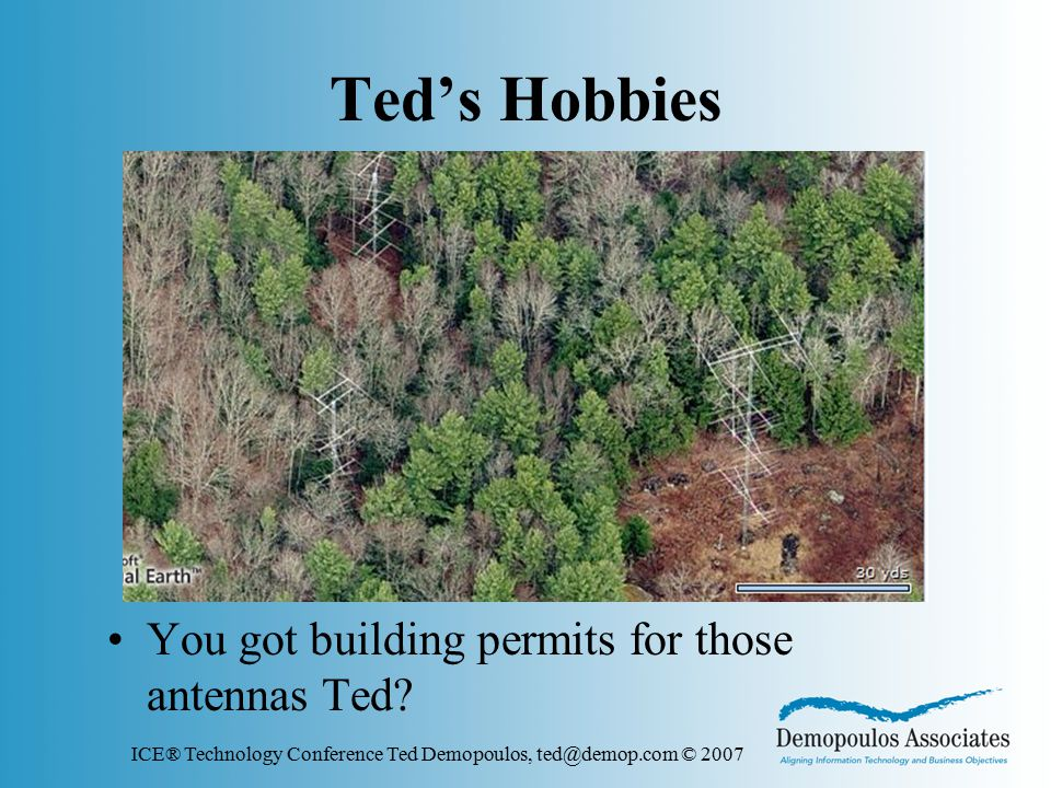 ICE® Technology Conference Ted Demopoulos, ted@demop.com © 2007 Ted's Hobbies You got building permits for those antennas Ted