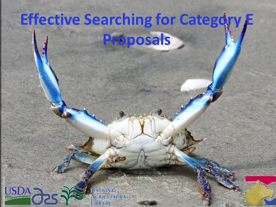 Effective Searching for Category E Proposals Callinectes sapidus