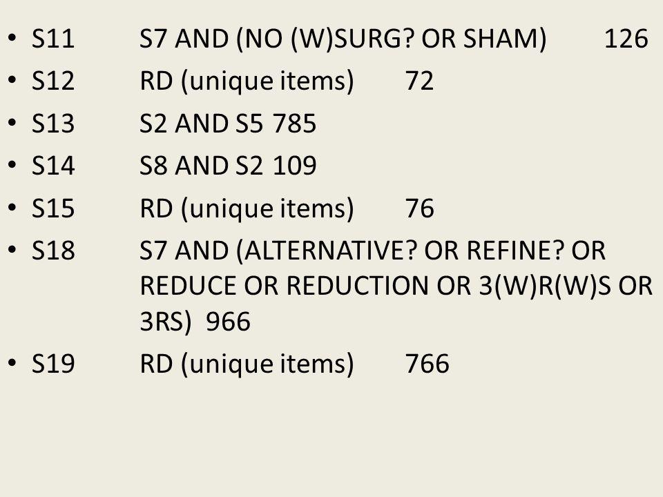 S11 S7 AND (NO (W)SURG? OR SHAM) 126 S12 RD (unique items) 72 S13 S2 AND S5 785 S14 S8 AND S2 109 S15 RD (unique items) 76 S18 S7 AND (ALTERNATIVE? OR