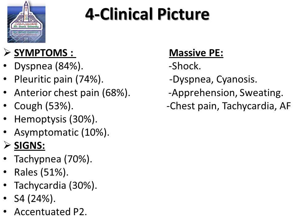 4-Clinical Picture  SYMPTOMS : Massive PE: Dyspnea (84%). -Shock. Pleuritic pain (74%). -Dyspnea, Cyanosis. Anterior chest pain (68%). -Apprehension,