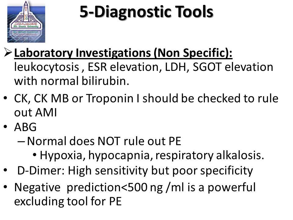  Laboratory Investigations (Non Specific): leukocytosis, ESR elevation, LDH, SGOT elevation with normal bilirubin. CK, CK MB or Troponin I should be