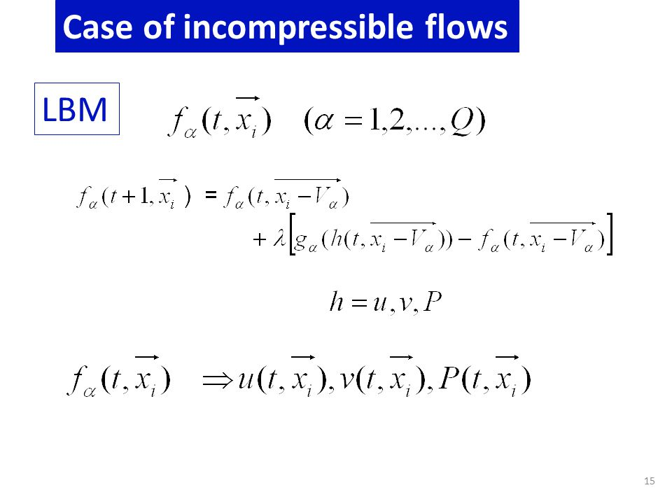 15 Case of incompressible flows LBM