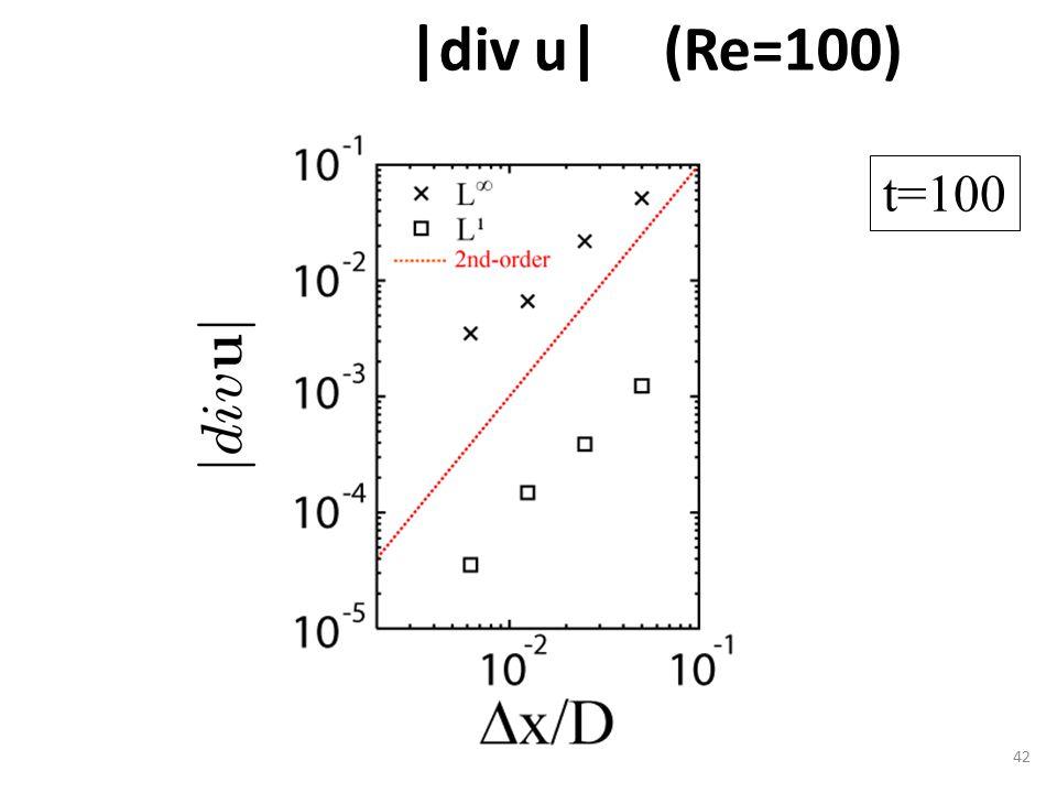 |div u| (Re=100) 42 t=100