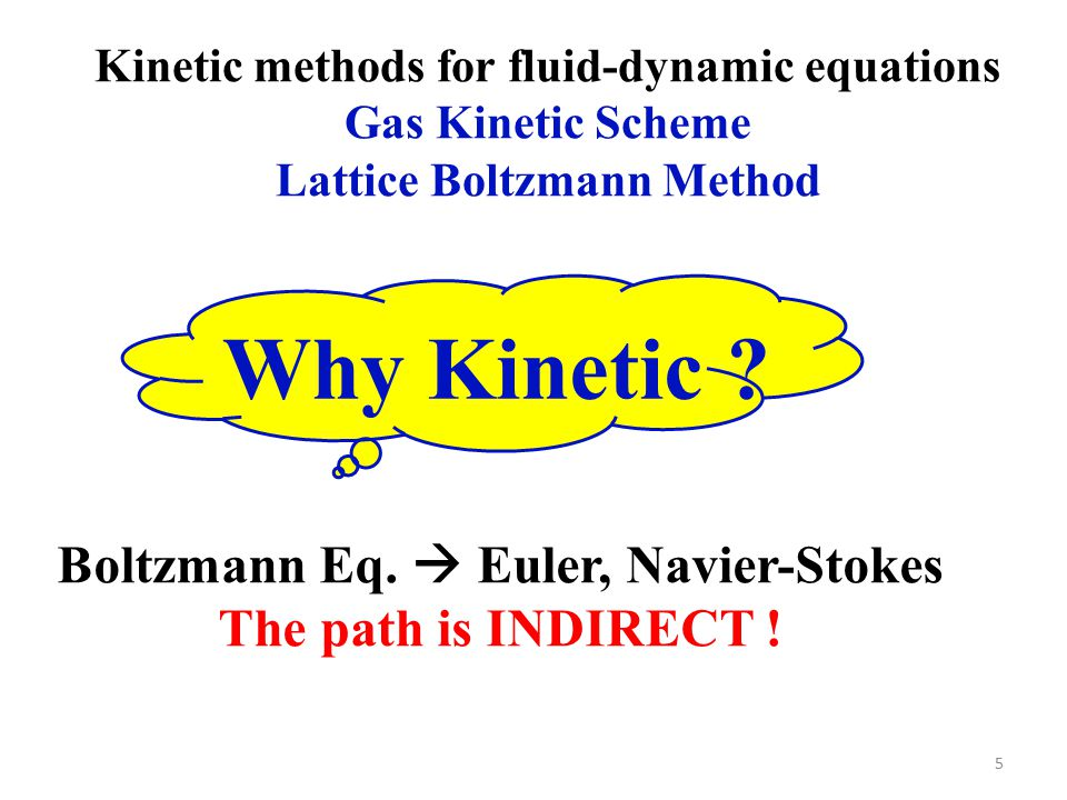 5 Kinetic methods for fluid-dynamic equations Gas Kinetic Scheme Lattice Boltzmann Method Boltzmann Eq.