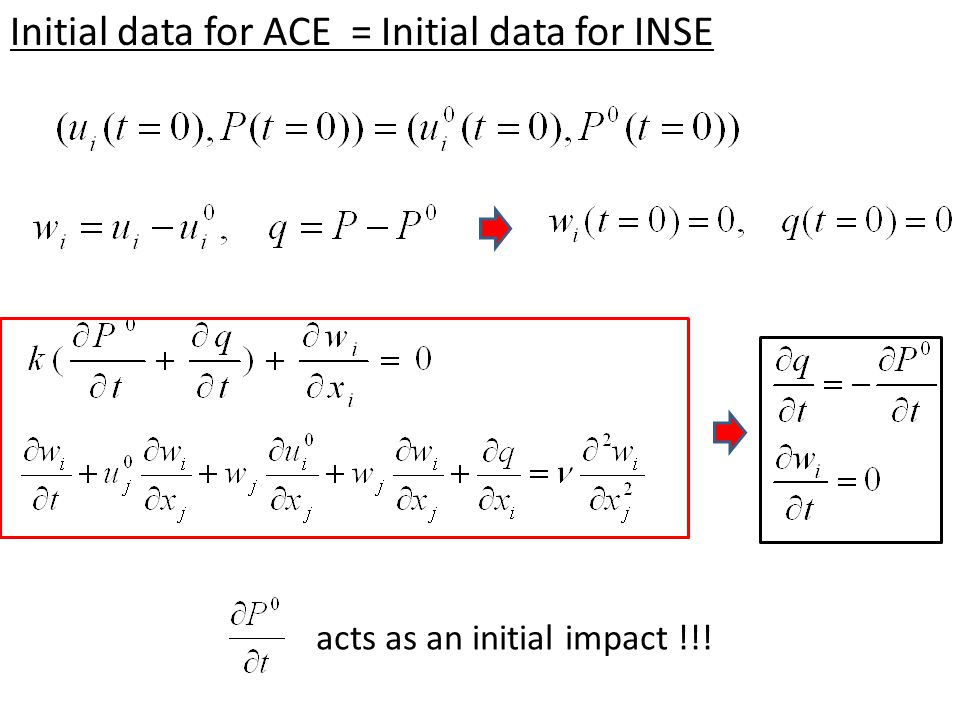 Initial data for ACE = Initial data for INSE acts as an initial impact !!!