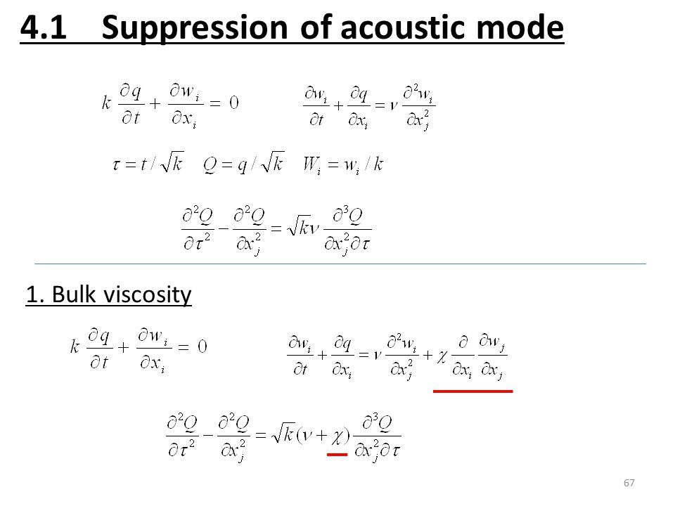 67 4.1 Suppression of acoustic mode 1. Bulk viscosity