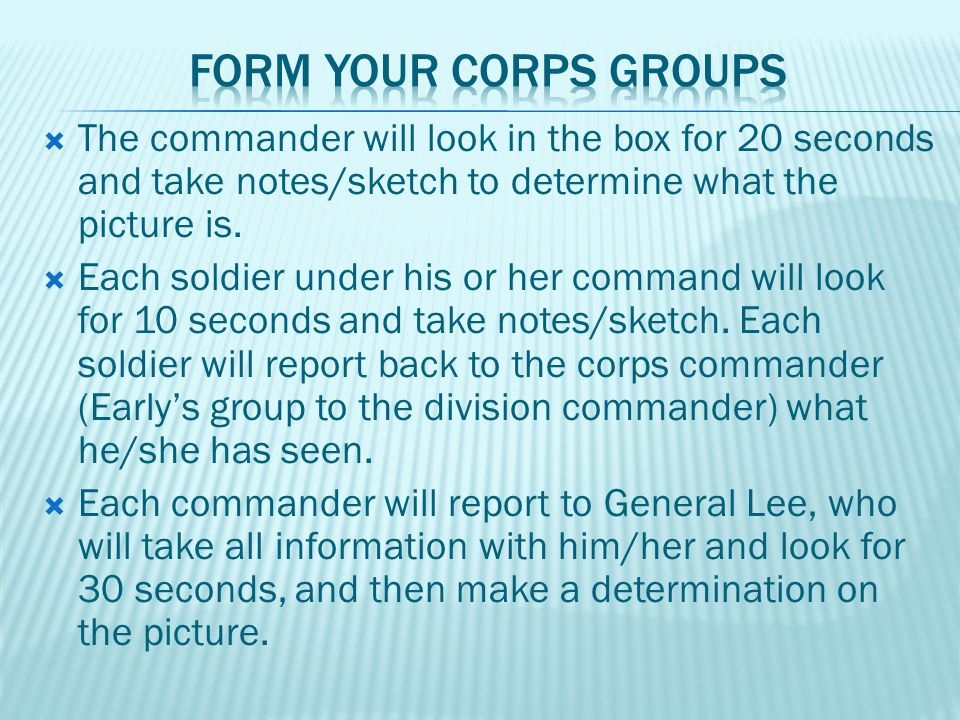  The commander will look in the box for 20 seconds and take notes/sketch to determine what the picture is.