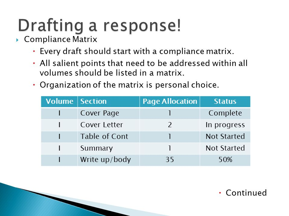  Compliance Matrix  Every draft should start with a compliance matrix.