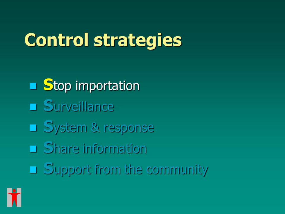 Control strategies S top importation S top importation S urveillance S urveillance S ystem & response S ystem & response S hare information S hare information S upport from the community S upport from the community