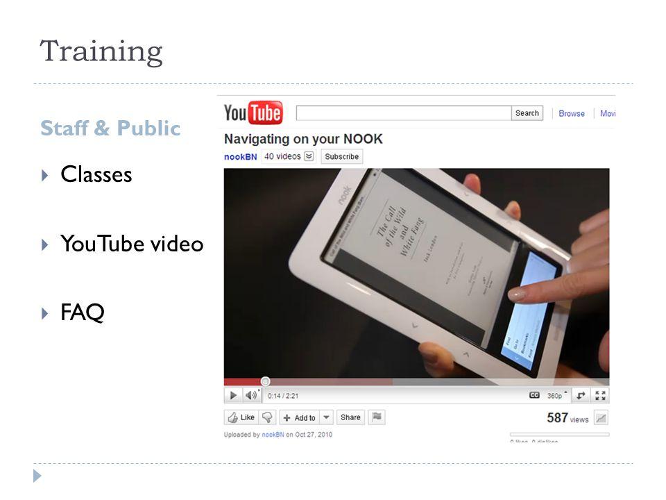 Training  Classes  YouTube video  FAQ Staff & Public