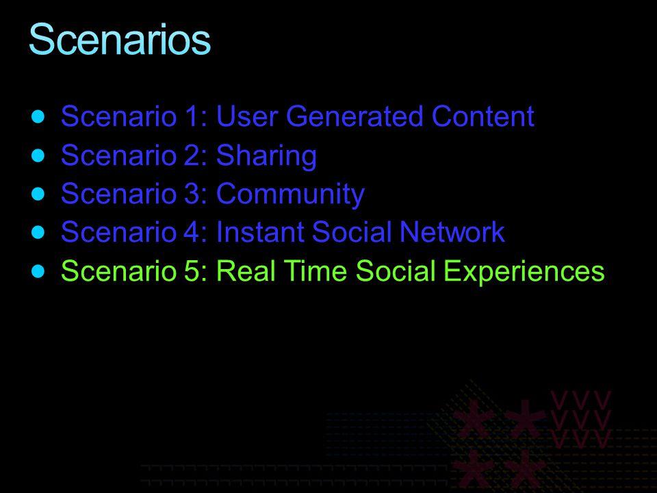 Scenario 1: User Generated Content Scenario 2: Sharing Scenario 3: Community Scenario 4: Instant Social Network Scenario 5: Real Time Social Experiences