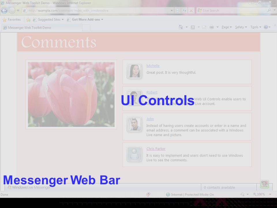 Messenger Web Bar UI Controls