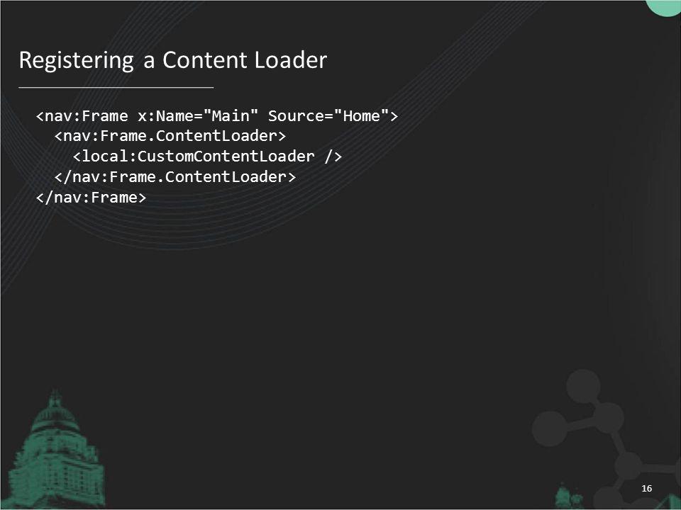 Registering a Content Loader 16