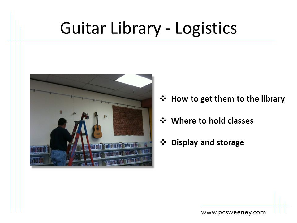 Guitar Library – Cataloging www.pcsweeney.com  Cataloging  Loan Rules  Loan Periods  Fines and Fees