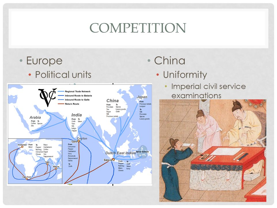 COMPETITION Europe Political units China Uniformity Imperial civil service examinations