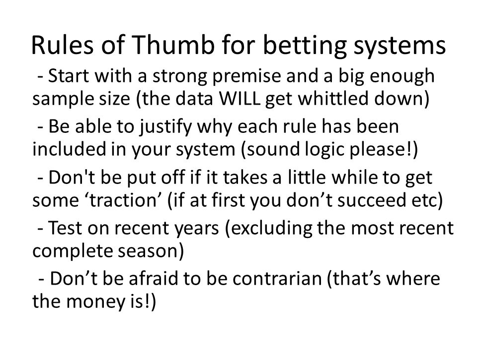 What is a good return from a betting system.It depends...
