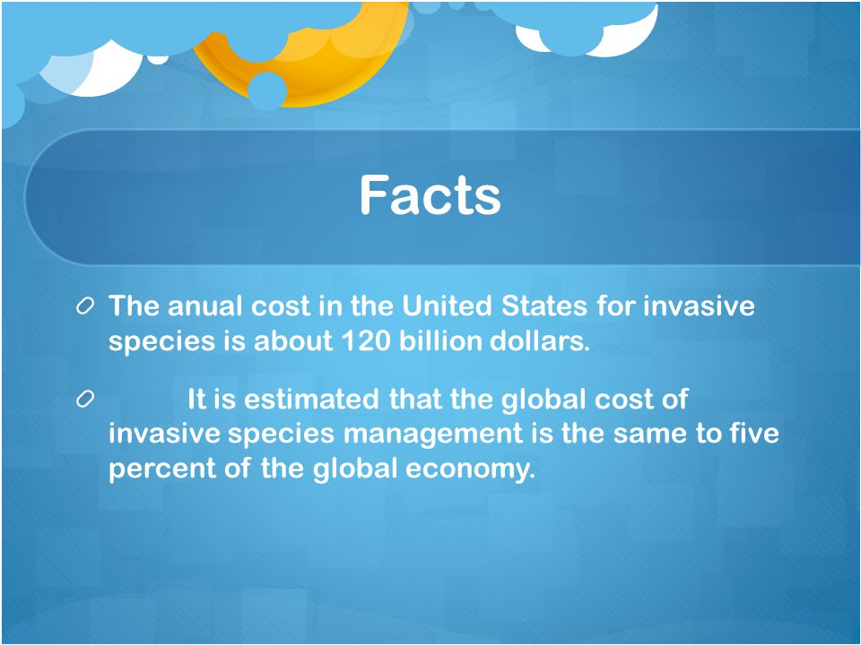 Facts The anual cost in the United States for invasive species is about 120 billion dollars.