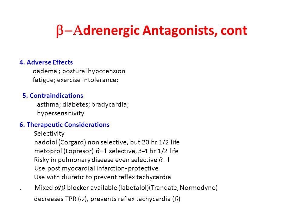  drenergic Antagonists, cont 6.