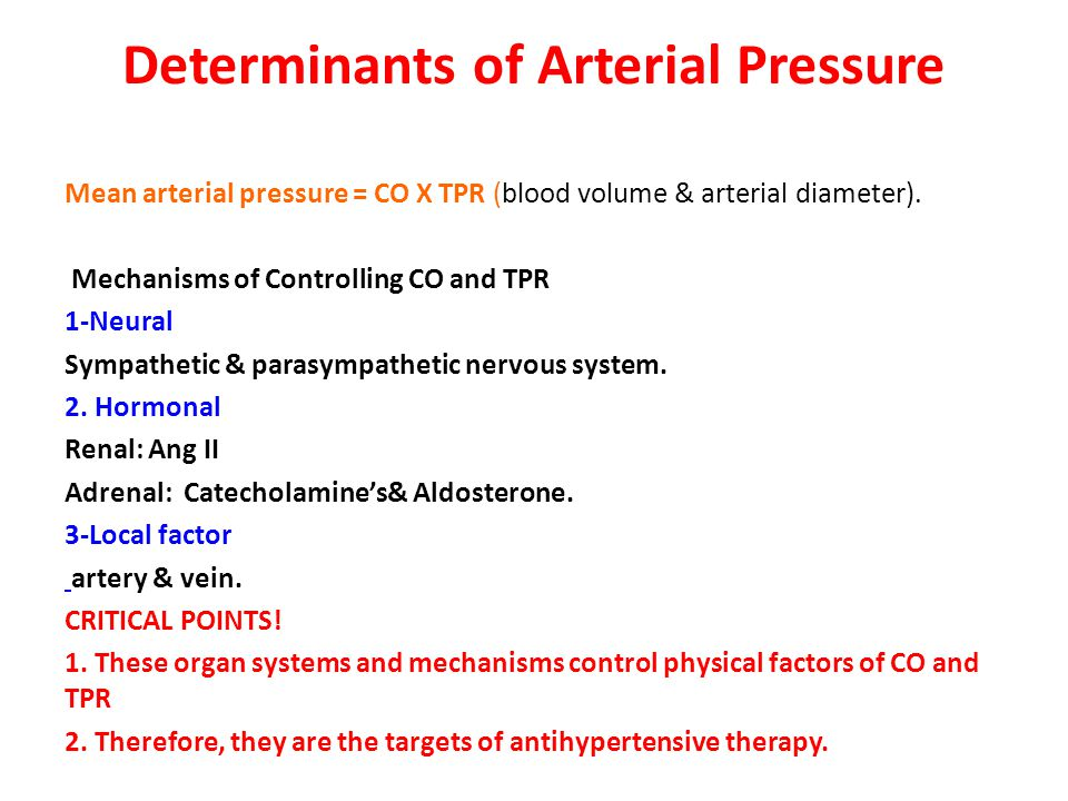 Determinants of Arterial Pressure Mean arterial pressure = CO X TPR (blood volume & arterial diameter).