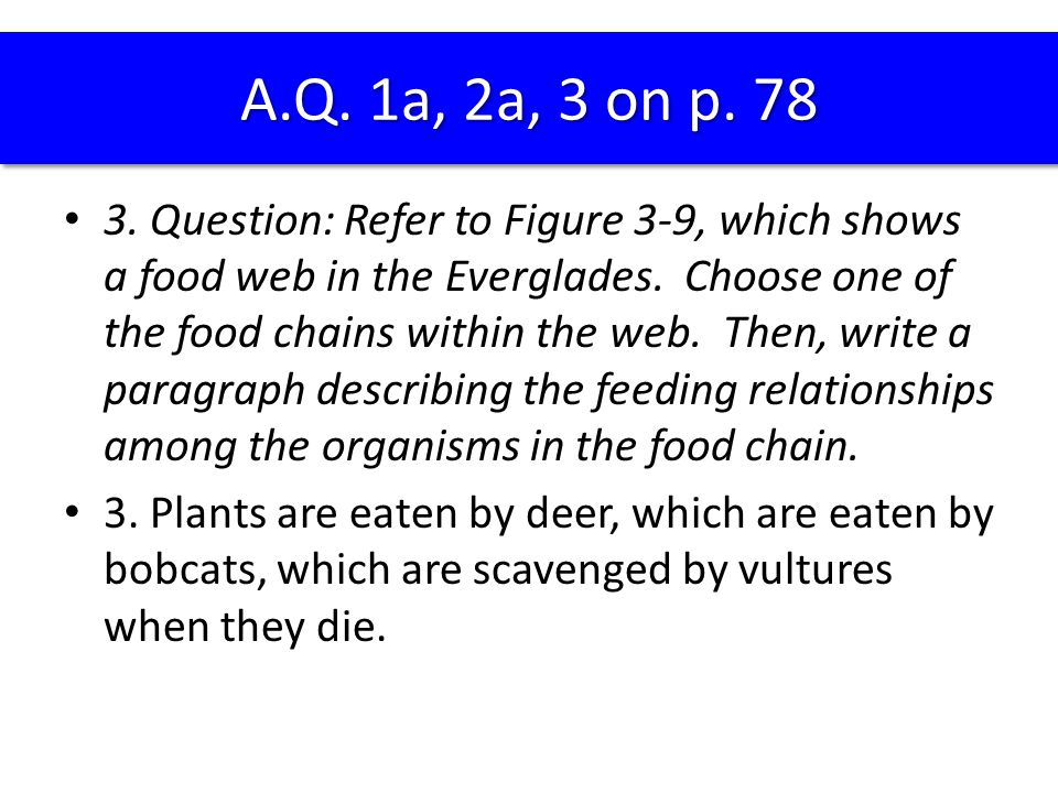 3. Question: Refer to Figure 3-9, which shows a food web in the Everglades. Choose one of the food chains within the web. Then, write a paragraph desc