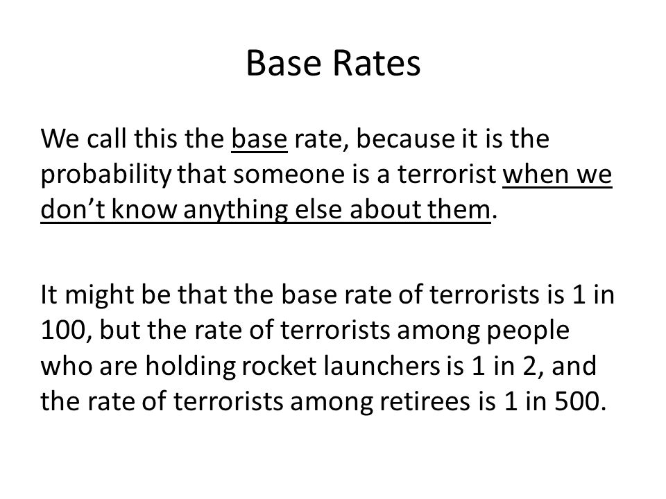 Tests The base rate neglect fallacy happens when we have a test that is meant to detect the value of a variable.
