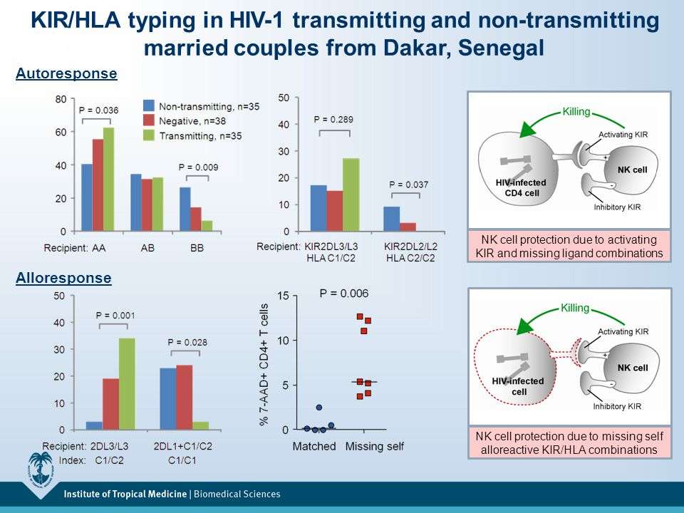 KIR/HLA typing in HIV-1 transmitting and non-transmitting married couples from Dakar, Senegal Autoresponse NK cell protection due to activating KIR and missing ligand combinations NK cell protection due to missing self alloreactive KIR/HLA combinations Alloresponse