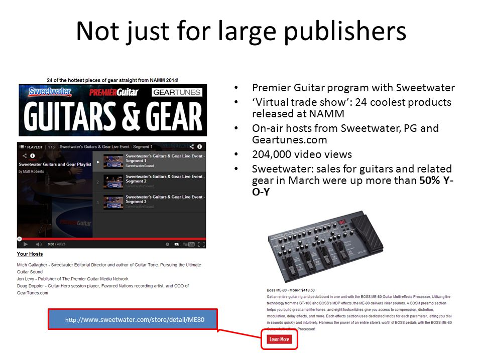 Not just for large publishers Premier Guitar program with Sweetwater 'Virtual trade show': 24 coolest products released at NAMM On-air hosts from Swee