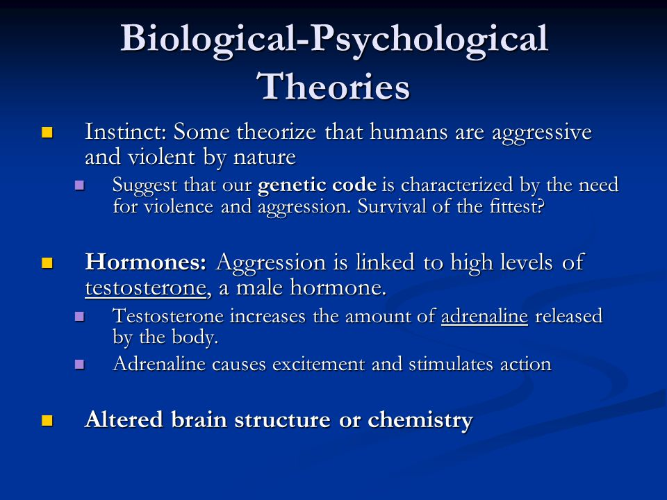 Biological-Psychological Theories Instinct: Some theorize that humans are aggressive and violent by nature Instinct: Some theorize that humans are aggressive and violent by nature Suggest that our genetic code is characterized by the need for violence and aggression.