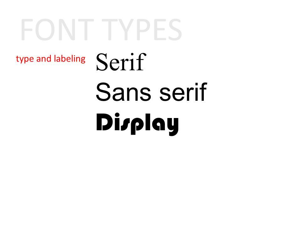 Serif Sans serif Display FONT TYPES
