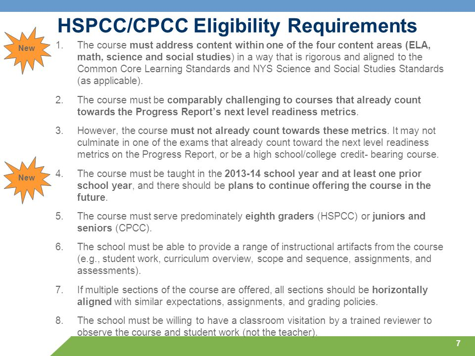 HSPCC/CPCC Eligibility Requirements 1.The course must address content within one of the four content areas (ELA, math, science and social studies) in