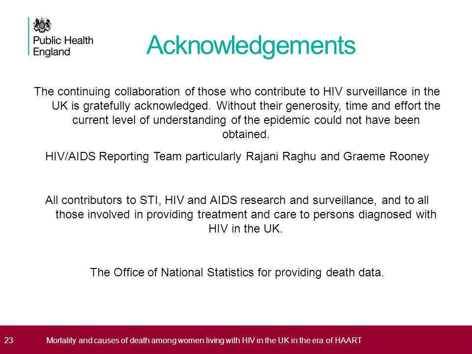 Acknowledgements 23Mortality and causes of death among women living with HIV in the UK in the era of HAART The continuing collaboration of those who c