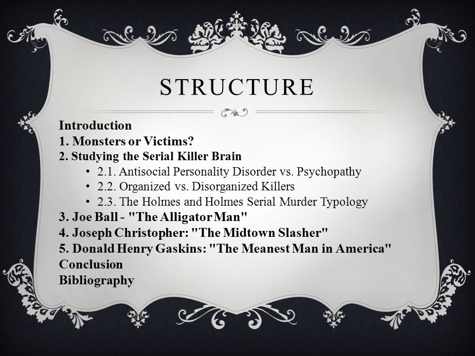 STRUCTURE Introduction 1. Monsters or Victims. 2.