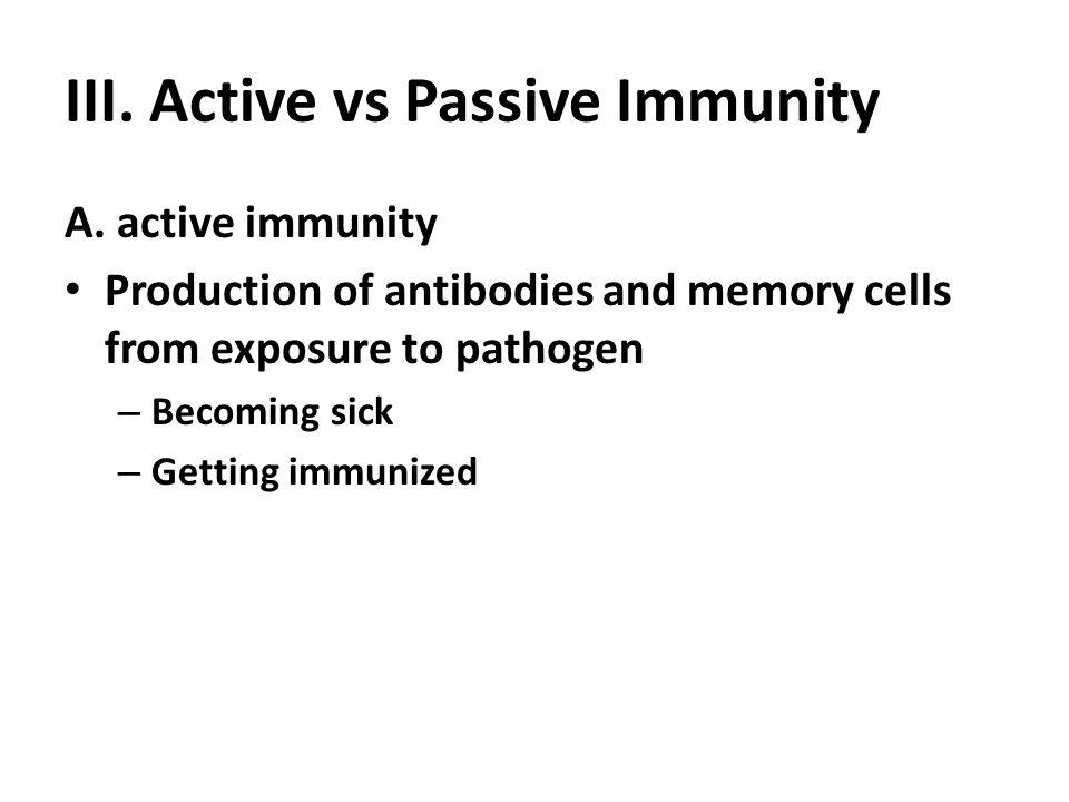 III. Active vs Passive Immunity A.