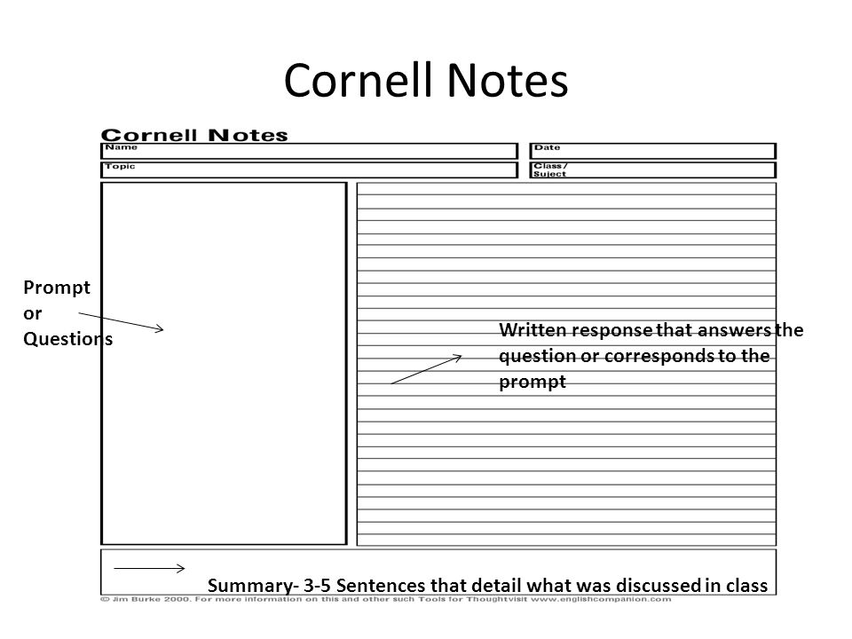 Cornell Notes Prompt or Questions Written response that answers the question or corresponds to the prompt Summary- 3-5 Sentences that detail what was