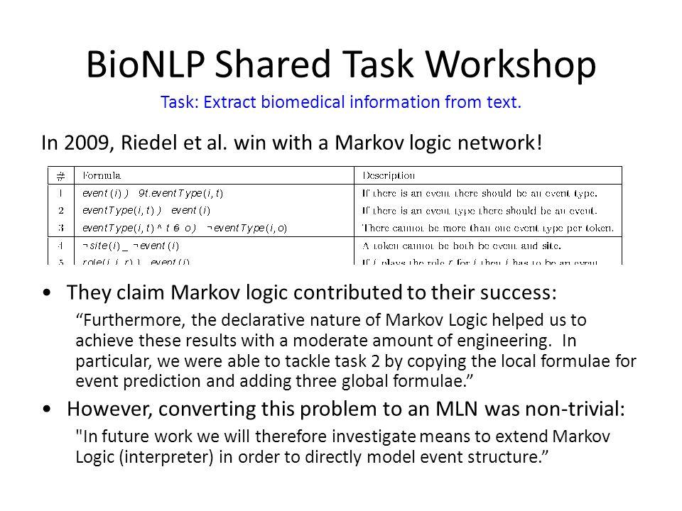 BioNLP Shared Task Workshop In 2009, Riedel et al.