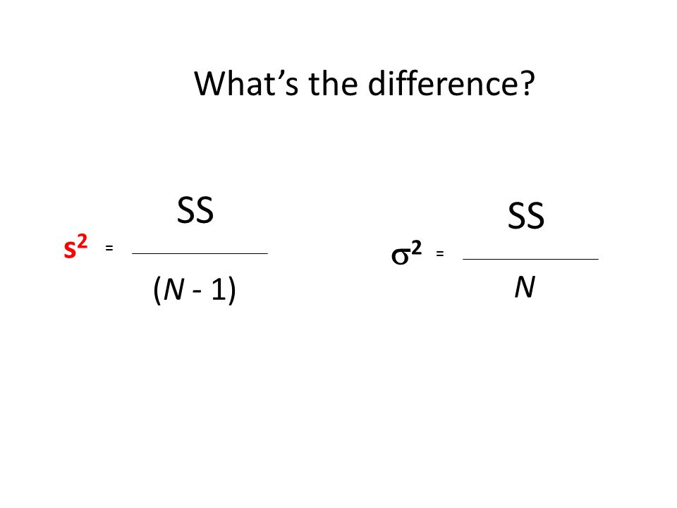 SS (N - 1) s2s2 = SS N 22 = What's the difference?