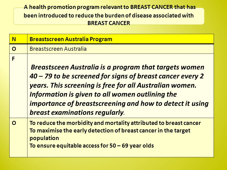 NBreastscreen Australia Program OBreastscreen Australia F Breastsceen Australia is a program that targets women 40 – 79 to be screened for signs of breast cancer every 2 years.
