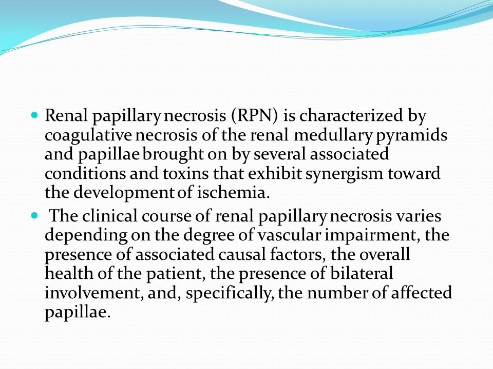 Renal papillary necrosis (RPN) is characterized by coagulative necrosis of the renal medullary pyramids and papillae brought on by several associated conditions and toxins that exhibit synergism toward the development of ischemia.