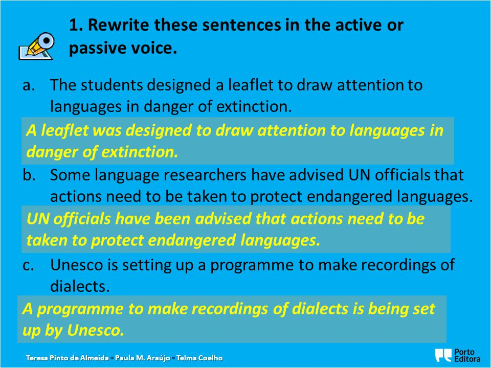 a.The students designed a leaflet to draw attention to languages in danger of extinction. A … b.Some language researchers have advised UN officials th