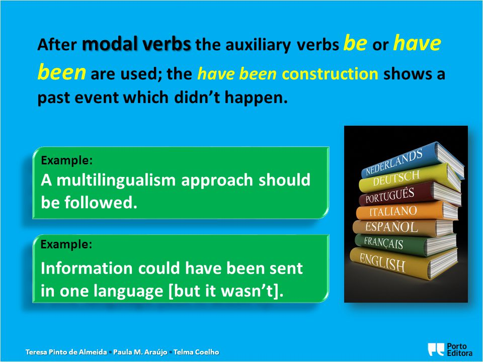 modal verbs After modal verbs the auxiliary verbs be or have been are used; the have been construction shows a past event which didn't happen. Example