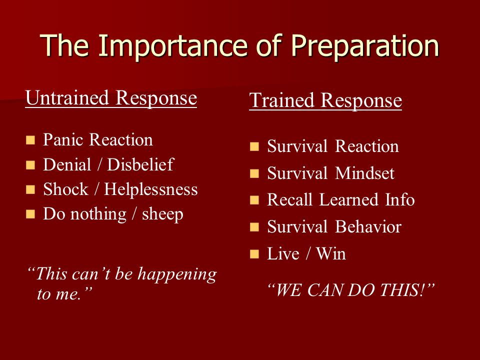 The Importance of Preparation Trained Response Survival Reaction Survival Mindset Recall Learned Info Survival Behavior Live / Win WE CAN DO THIS! Untrained Response Panic Reaction Denial / Disbelief Shock / Helplessness Do nothing / sheep This can't be happening to me.